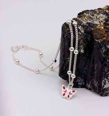 Silber Damen Fußkettchen Kugelkette Fußkette mit Schmeterling 25 cm. Neu – Bild 6