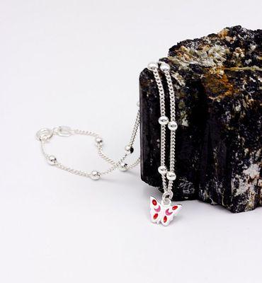 Silber Damen Fußkettchen Kugelkette Fußkette mit Schmeterling 25 cm. Neu – Bild 9