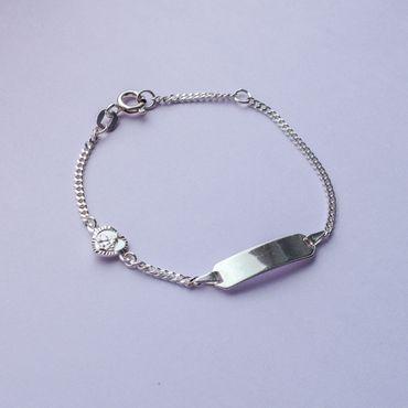 ASS 925 Silber Kinder Armband 14 cm mit ID Gravurplate und Herz inkl. Wunschgravur – Bild 3