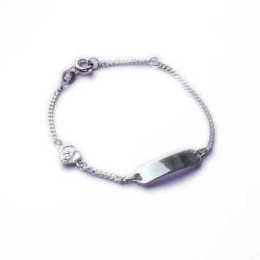 ASS 925 Silber Kinder Armband 14 cm mit ID Gravurplate und Herz inkl. Wunschgravur – Bild 1