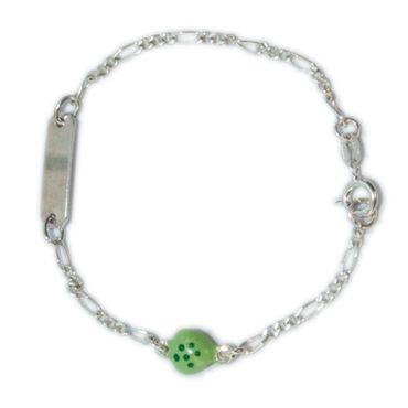 ASS 925 Silber ID Figaro Kinder Armband mit grünem Herz und Gravurplatte mit Wünschgravur – Bild 1