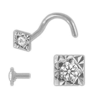 ASS 925 Silber Nasenstecker Nasenpiercing Kelch  mit Zirkonia 4-eck diamantiert und Spirale – Bild 1