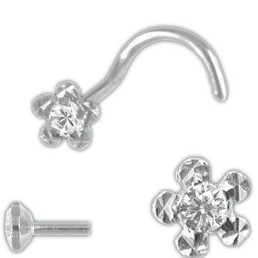 ASS 925 Silber Nasenstecker Nasenpiercing Blume mit Zirkonia, rand diamantiert – Bild 1