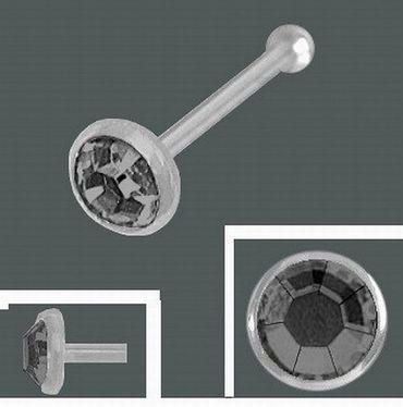 ASS 925 Silber Nasenstecker Nasenpiercing Kelch  mit schwarz Krisstalstein 2,5mm und Kugel – Bild 2