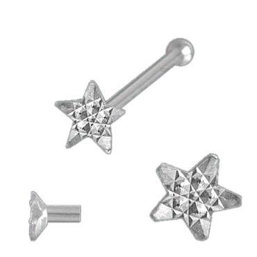 ASS 925 Silber Nasenstecker Nasenpiercing Stern Rand diamantiert mit Kugel mit Zirkonia