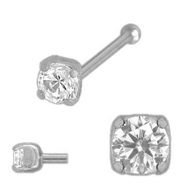 ASS 925 Silber Nasenstecker Nasenpiercing 4-Krallen mit Kugel mit Zirkonia ca. 2,5 mm – Bild 2
