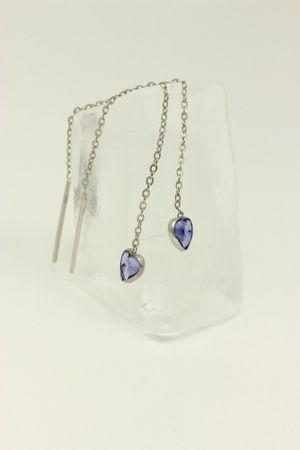 ASS 925 Silber Damen Durchzieher/Ohrringe Ankerkette mit Herz Zirkonia tansanitfarbenen – Bild 3