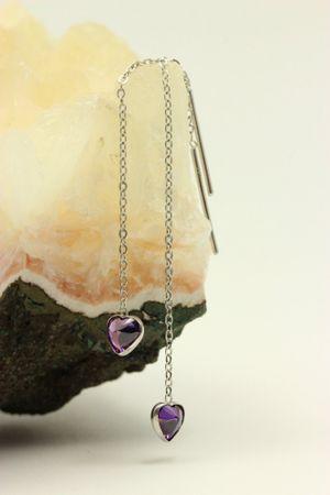 ASS 925 Silber Damen Durchzieher/Ohrringe Ankerkette mit Herz Zirkonia amethystfarbenen – Bild 2