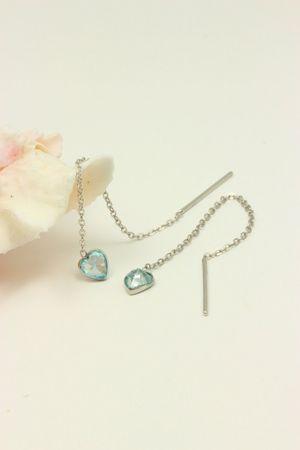 ASS 925 Silber Damen Durchzieher/Ohrringe Ankerkette mit Herz Zirkonia aquafarbenen – Bild 2