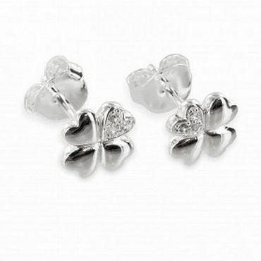 ASS 925 Silber Damen Kinder Ohrstecker Ohrringe Kleeblatt mit 6 Zirkonia – Bild 1