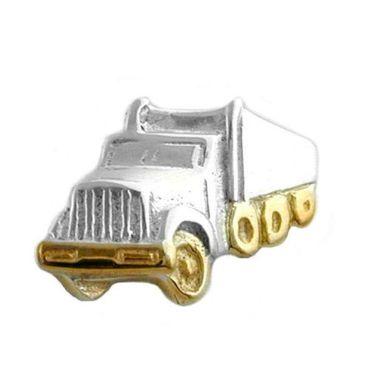 Silber Einzel Ohrstecker Männer Junge Stecker LKW/Lastwagen/Truck Bicolor – Bild 1