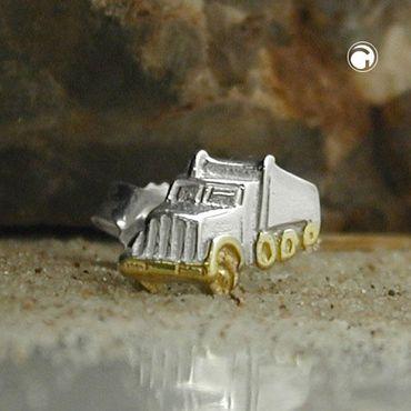 Silber Einzel Ohrstecker Männer Junge Stecker LKW/Lastwagen/Truck Bicolor – Bild 2
