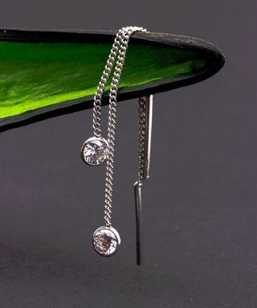ASS 925 Silber Damen Ohrringe Ohrhänger Ohrstecker Durchzieher Panzerkette mit Zirkonia rund weiß – Bild 2