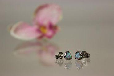 ASS 925 Ohrringe Damen Kinder Ohrstecker Stecker Herz mit synt.Opal – Bild 2