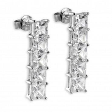 ASS 925 Silber Damen Ohrstecker Ohrringe mit 10 Zirkonia weiß
