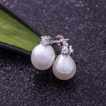 ASS 925 Silber  Damen Kinder Ohrstecker Ohrringe mit weißen Perlen 7 mm und Zirkonia Weiß – Bild 3