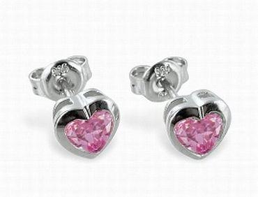Silber Damen Kinder Ohrstecker Ohrringe Herz mit Zirkonia rose – Bild 2