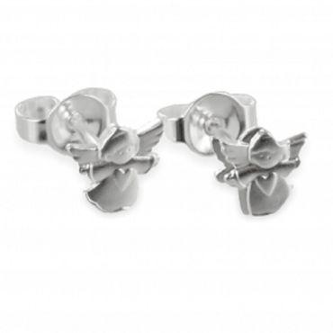 ASS 925 Silber Ohrstecker fliegender Engel mit Herz Ohrringe Schutzengel Stecker – Bild 1