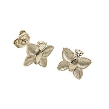 ASS 925 Silber Damen Kinder Ohrstecker Ohrringe Schmetterling mit Zirkonia – Bild 1