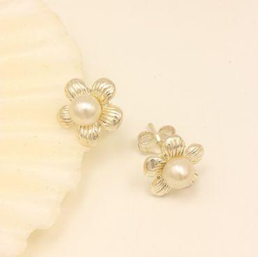ASS 925 Silber Paar Ohrstecker Steker Blume 9mm mit Perle SWZP 4,5mm – Bild 2