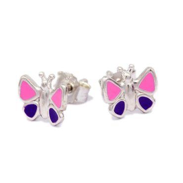 Silber Damen Kinder Ohrstecker Schmetterling poliert lack pink-lila – Bild 1