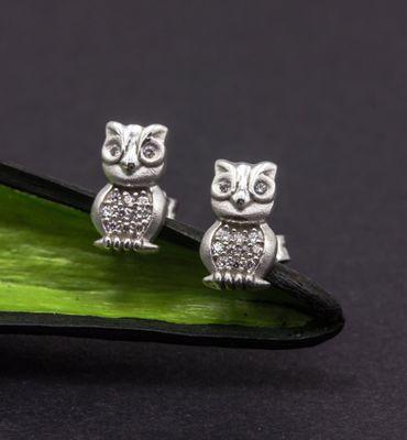 ASS 925 Silber Kinder Damen Ohrstecker Ohrringe Eule mit Zirkonia – Bild 4