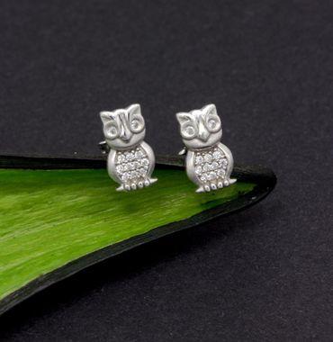 ASS 925 Silber Kinder Damen Ohrstecker Ohrringe Eule mit Zirkonia – Bild 2