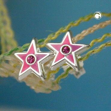 Silber Ohrschmuck Ohrringe Ohrstecker Stecker Stern pink lackiert – Bild 2