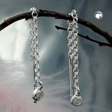 ASS 925 Silber Damen  Durchzieher  Ohrstecker Ohrringe Ankerkette  mit Zirkonia 60mm – Bild 2