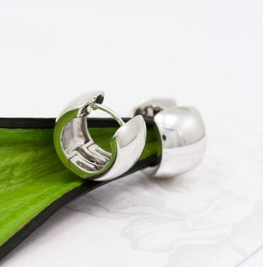 ASS 925 Silber Damen Herren Ohrringe Creolen KlAPPCREOLEN 14,8 mm, poliert ,Ohrschmuck – Bild 3