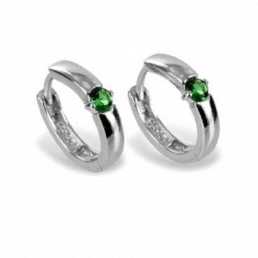 ASS 925 silber Ohrringe Klappcreolen Zirkonia smaragd grün Ohrschmuck – Bild 1