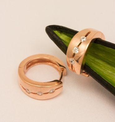 ASS 925 SILBER ROTGOLD Creolen Ohrringe rund 15,4 mm rosé vergoldet mit Zirkonia – Bild 4