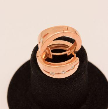 ASS 925 SILBER ROTGOLD Creolen Ohrringe rund 15,4 mm rosé vergoldet mit Zirkonia – Bild 3