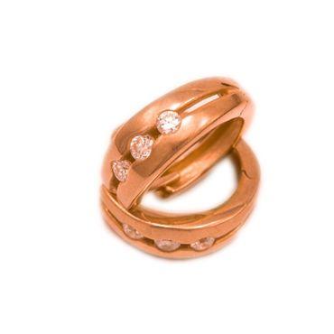 ASS 925 SILBER ROTGOLD Creolen Ohrringe rund 15,2mm rosé vergoldet mit Zirkonia – Bild 1