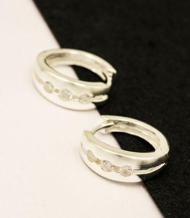 Silber Damen Ohrringe Creolen KlAPPCREOLEN mit 3 Zirkonia,15,2mm – Bild 3