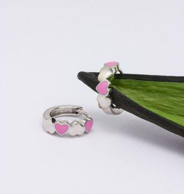 ASS 925 Silber Kinder Ohrringe Creolen Klappcreolen mit 4 Herzen, pink rosa gelackt – Bild 2
