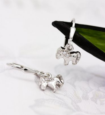ASS 925 silber Ohrringe Ohrschmuck Ohrhänger Brisur Pferd Pony mit Zirkonia – Bild 4