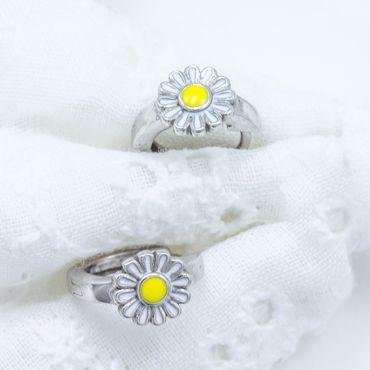 ASS 925 Silber Damen Kinder Ohrringe Creole KlAPPCREOLEN BLUME Camomile Geschenk – Bild 3