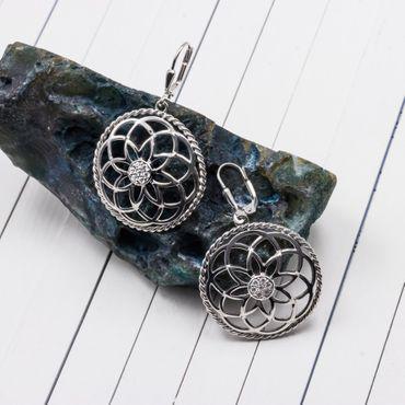 ASS 925 Silber Ohrringe Ohrhänger Brisur Blume mit Zirkonia rund 27mm – Bild 2