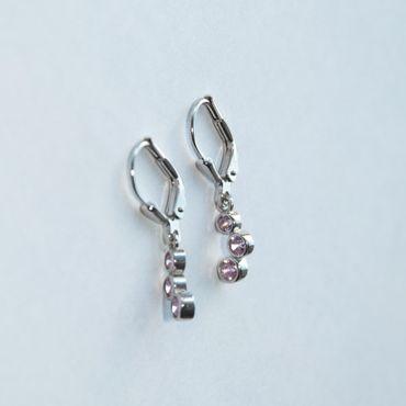 ASS  925 Silber Ohrhänger Brisur Ohrringe mit 6 Zirkonia rose – Bild 3