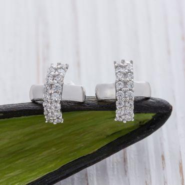 ASS 925 Silber Damen Ohrstecker Ohrringe kreuzform 9*9mm mit vielen weißen Zirkonia – Bild 6