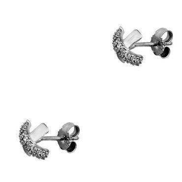 ASS 925 Silber Damen Ohrstecker Ohrringe kreuzform 9*9mm mit vielen weißen Zirkonia – Bild 2