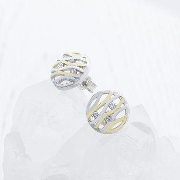 ASS 925 Silber Damen Ohrstecker Ohrringe 2-farbige rundform 11 mm mit 3 weißen Zirkonia vergoldet – Bild 3