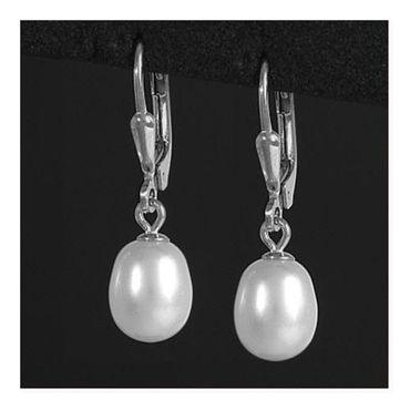 ASS 925 Silber Ohrhänger Brisur Ohrringe Tropfen mit Perle SWZP 7-7,5 mm – Bild 2