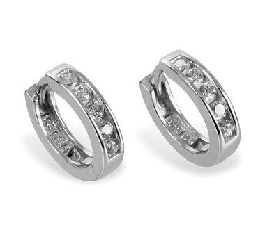 Silber Ohrringe Klappcreolen mit 10 Zirkonia weiß Ohrschmuck – Bild 2