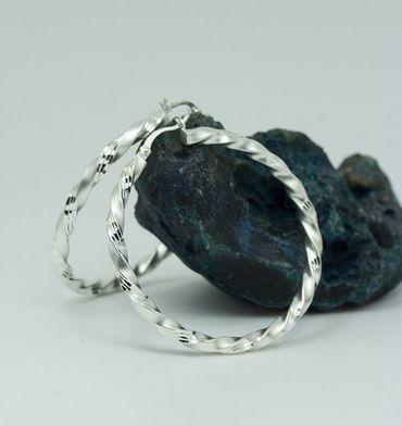 ASS 925 Silber Damen Ohrringe Creolen mattiert, diamantiert, 50 mm – Bild 4