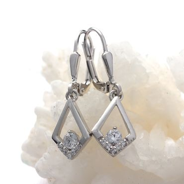 ASS 925 Silber Ohrschmuck Ohrringe Brisur Rhombus mit Zirkonia weiß – Bild 3