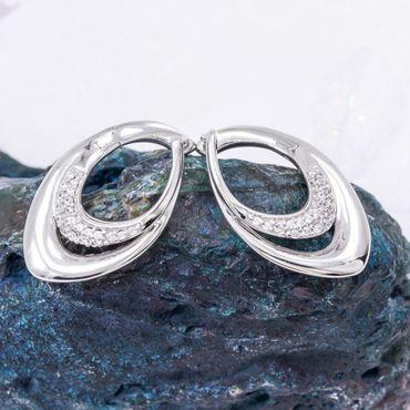 ASS 925 Silber Damen Ohrringe Scharniercreolen mit Zirkonia weiß  – Bild 6