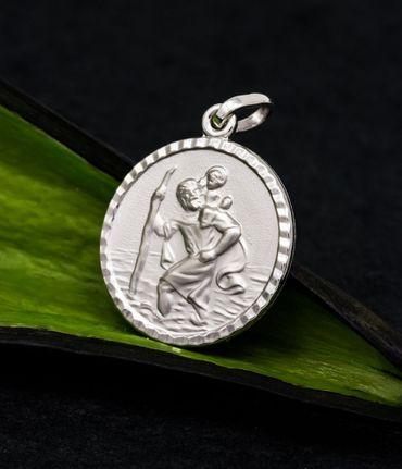 ASS 925 Silber Anhänger Christophorus Christopherus Reiseamulett Glücksbringer,diamntiert,16mm – Bild 2