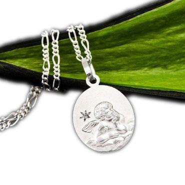 ASS 925 Silber Anhänger Engel,Schutzengel,gesandelt, oval,14mm, mit Diamant (Brillant),0,005ct,Gott schütze dich – Bild 1